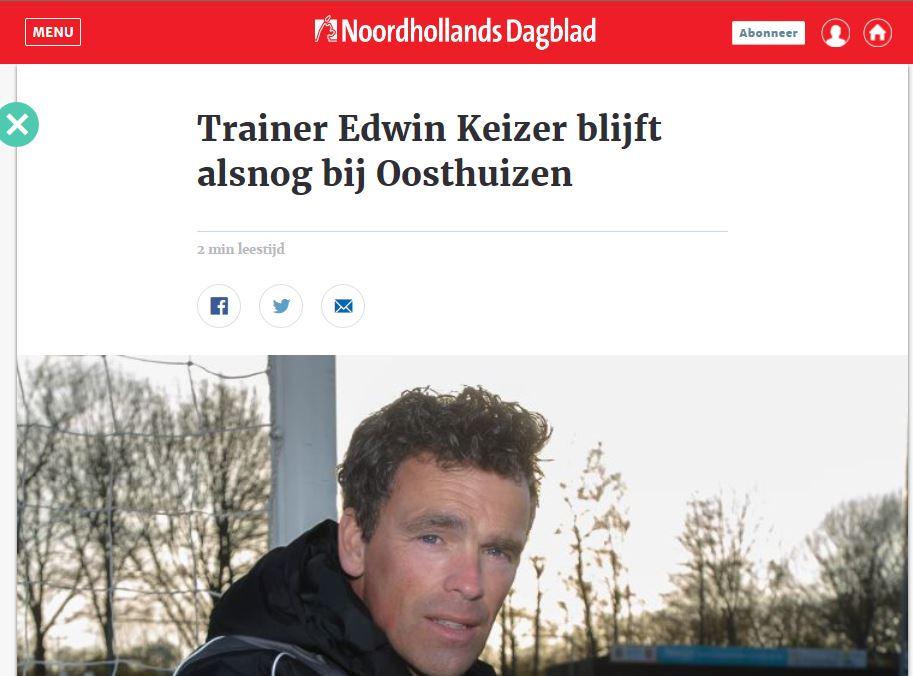Hoofdtrainer Edwin Keizer verlengt contract bij v.v. Oosthuizen